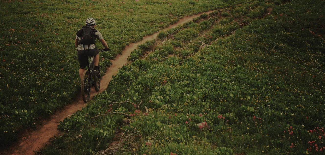 image of a man riding a mountain bike down a narrow path