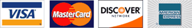 Visa, Mastercard, Discover and American Express credit card logos